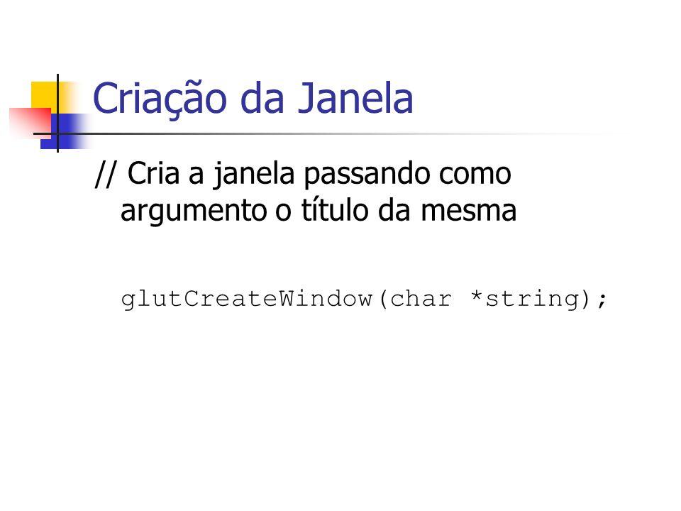 Criação da Janela // Cria a janela passando como argumento o título da mesma. glutCreateWindow(char *string);