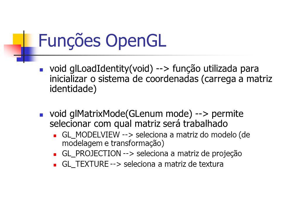 Funções OpenGL void glLoadIdentity(void) --> função utilizada para inicializar o sistema de coordenadas (carrega a matriz identidade)