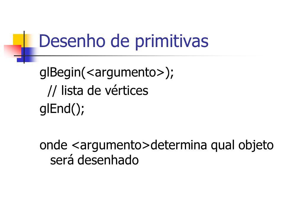 Desenho de primitivas glBegin(<argumento>); // lista de vértices