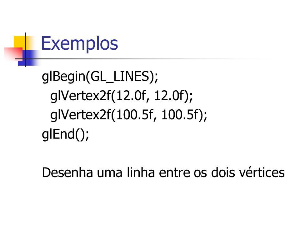 Exemplos glBegin(GL_LINES); glVertex2f(12.0f, 12.0f);