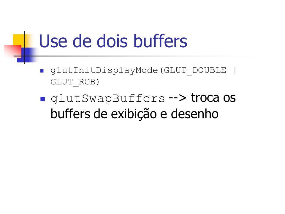 Use de dois buffers glutInitDisplayMode(GLUT_DOUBLE | GLUT_RGB) glutSwapBuffers --> troca os buffers de exibição e desenho.