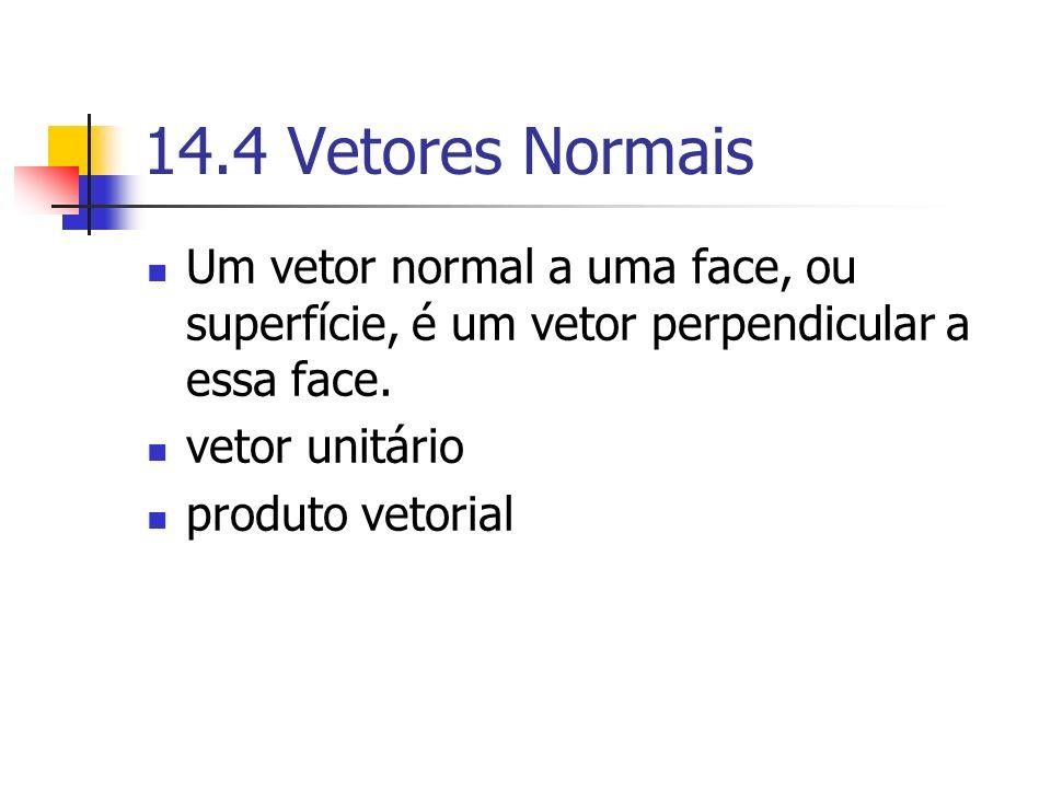 14.4 Vetores Normais Um vetor normal a uma face, ou superfície, é um vetor perpendicular a essa face.