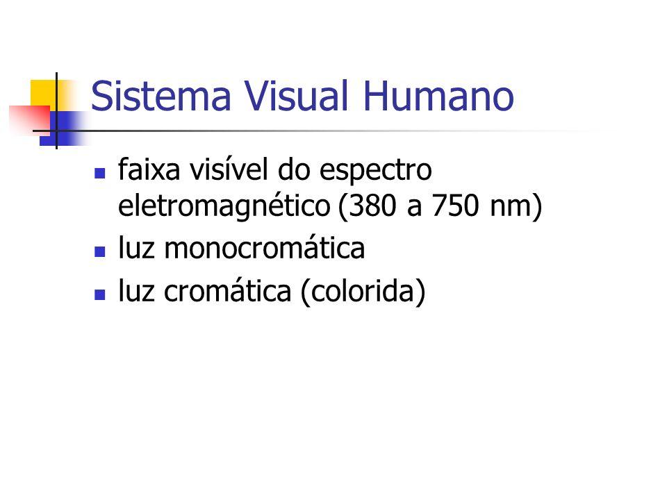Sistema Visual Humano faixa visível do espectro eletromagnético (380 a 750 nm) luz monocromática.