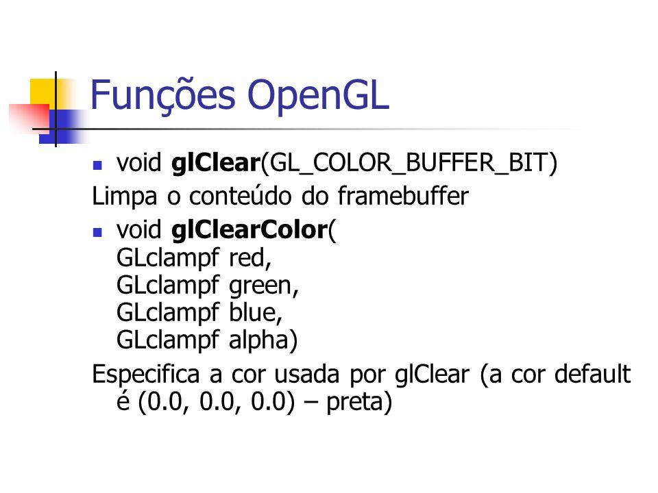 Funções OpenGL void glClear(GL_COLOR_BUFFER_BIT)