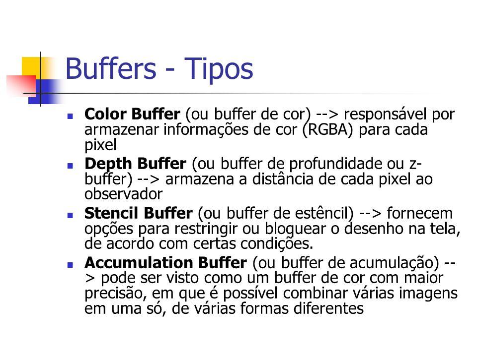 Buffers - Tipos Color Buffer (ou buffer de cor) --> responsável por armazenar informações de cor (RGBA) para cada pixel.