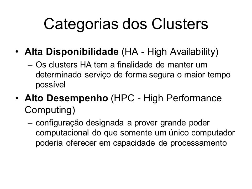 Categorias dos Clusters