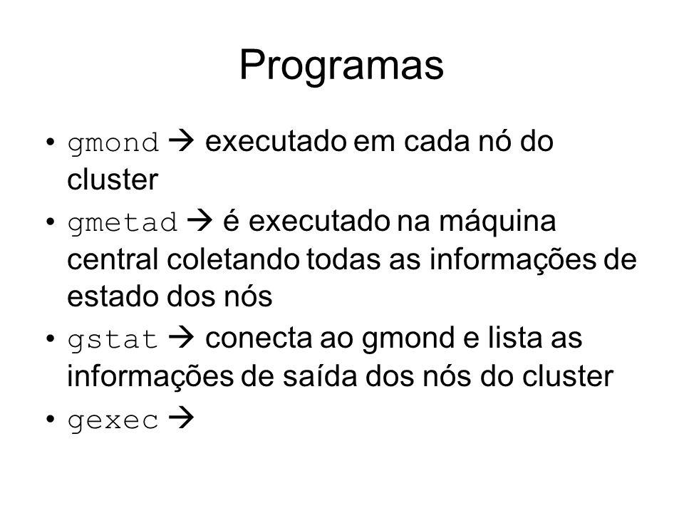 Programas gmond  executado em cada nó do cluster
