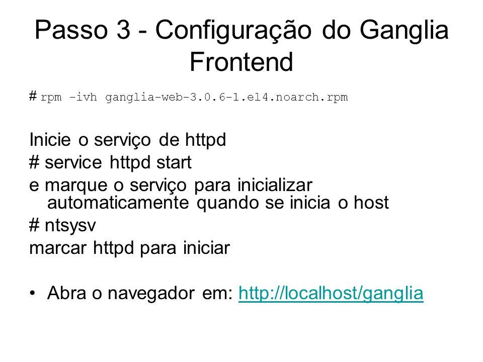 Passo 3 - Configuração do Ganglia Frontend