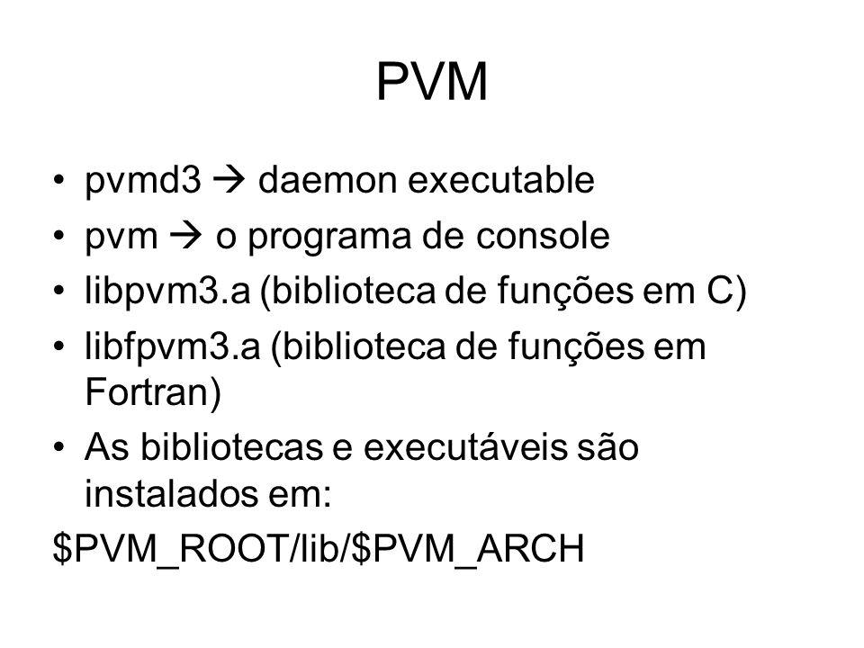 PVM pvmd3  daemon executable pvm  o programa de console