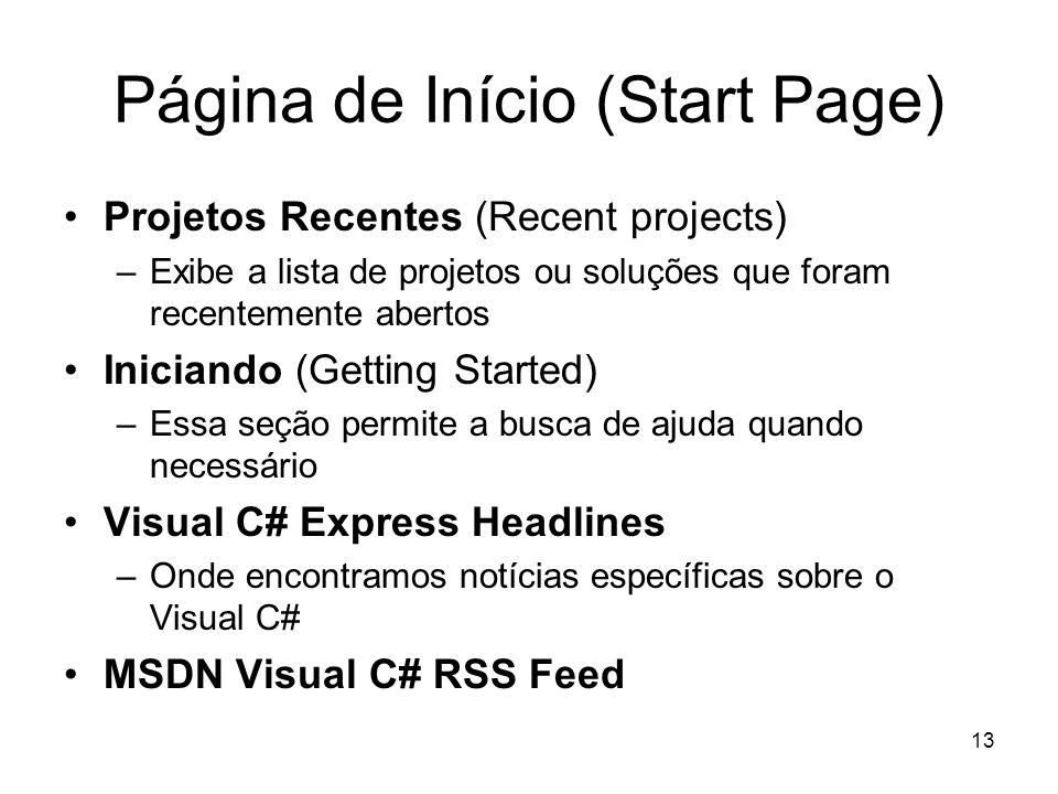 Página de Início (Start Page)