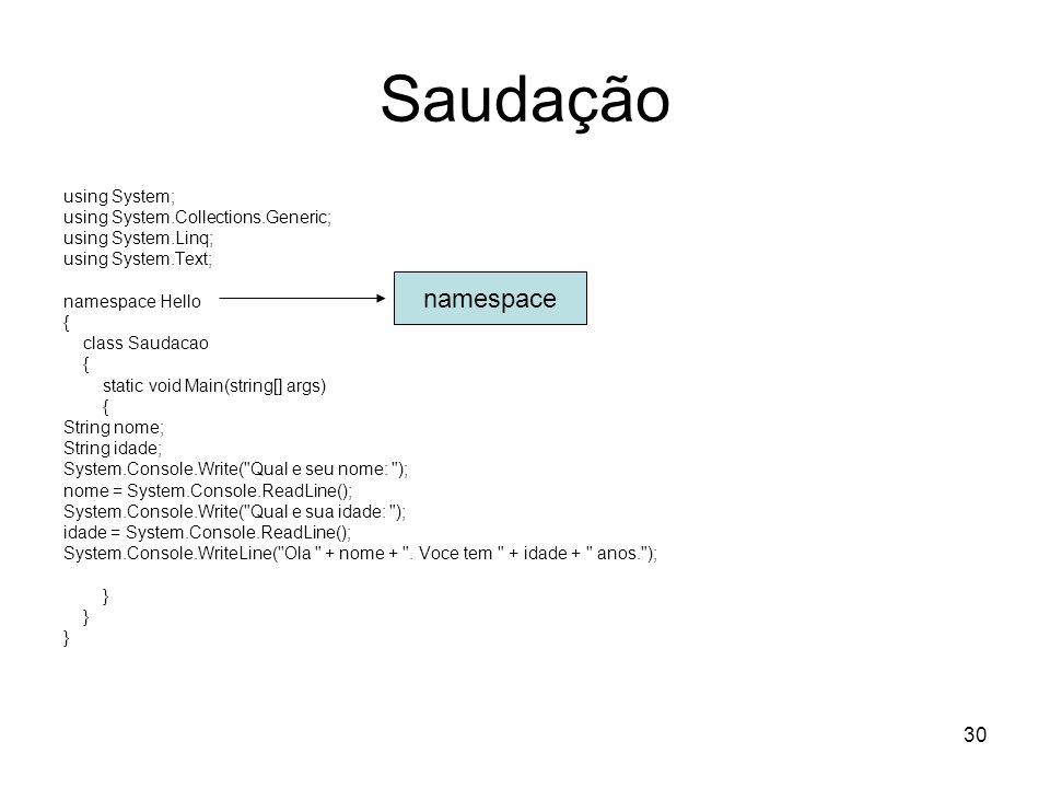 Saudação namespace using System; using System.Collections.Generic;