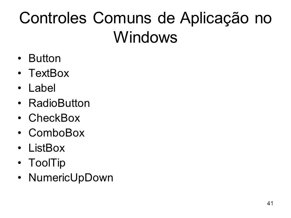 Controles Comuns de Aplicação no Windows