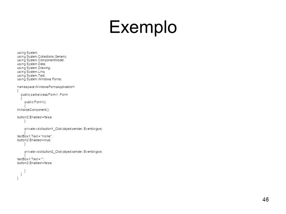 Exemplo using System; using System.Collections.Generic;