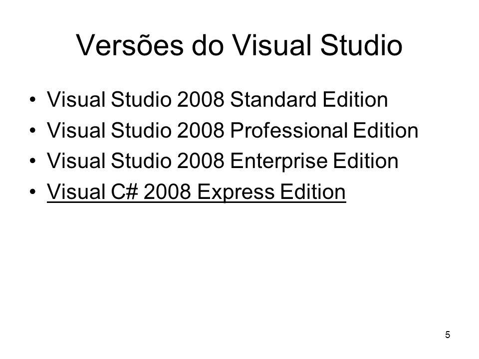 Versões do Visual Studio