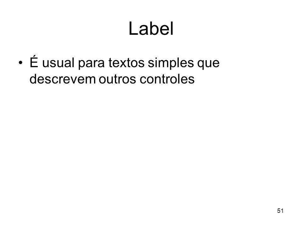 Label É usual para textos simples que descrevem outros controles