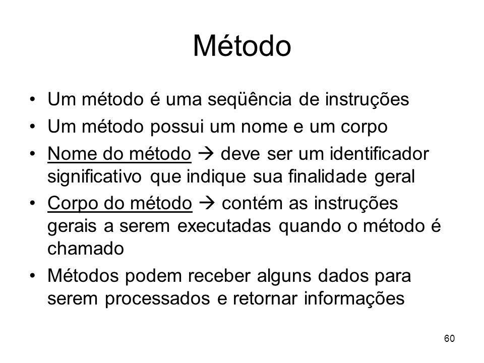 Método Um método é uma seqüência de instruções