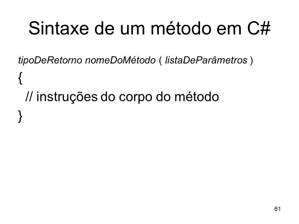 Sintaxe de um método em C#