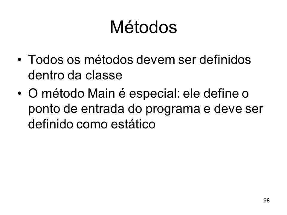 Métodos Todos os métodos devem ser definidos dentro da classe
