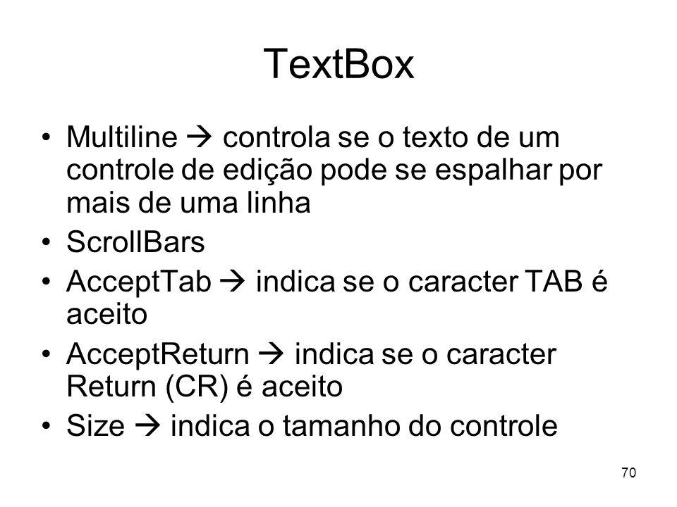 TextBox Multiline  controla se o texto de um controle de edição pode se espalhar por mais de uma linha.