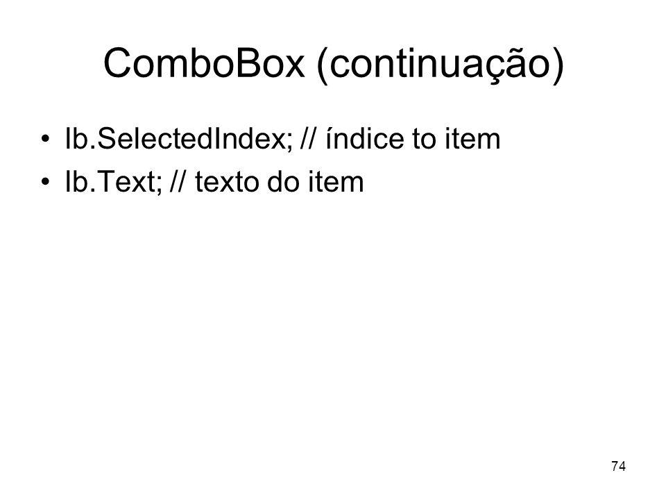 ComboBox (continuação)