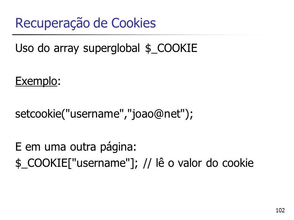 Recuperação de Cookies