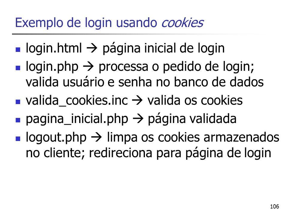 Exemplo de login usando cookies