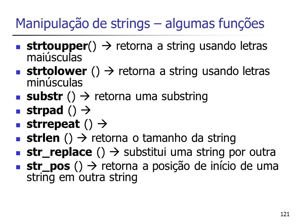 Manipulação de strings – algumas funções