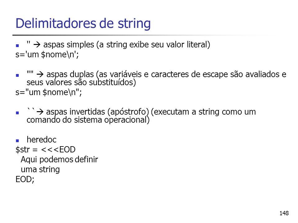 Delimitadores de string