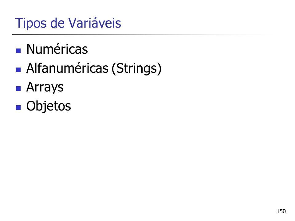 Tipos de Variáveis Numéricas Alfanuméricas (Strings) Arrays Objetos