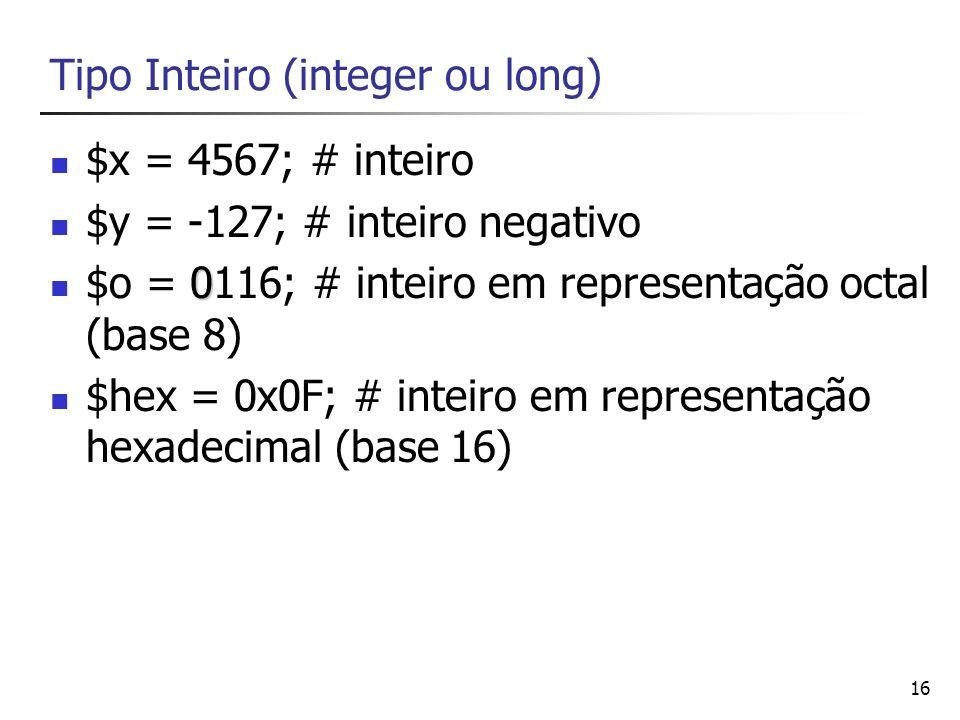 Tipo Inteiro (integer ou long)
