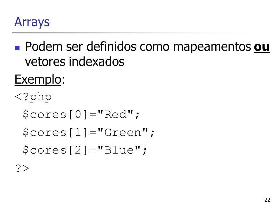 Podem ser definidos como mapeamentos ou vetores indexados Exemplo: