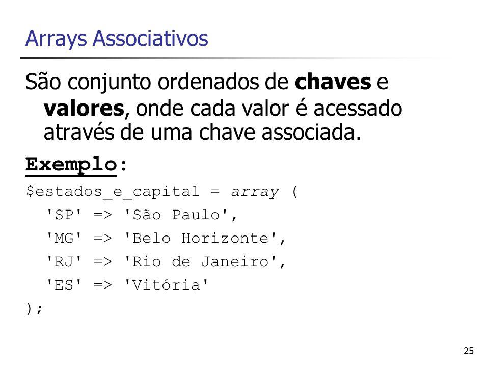 Arrays Associativos São conjunto ordenados de chaves e valores, onde cada valor é acessado através de uma chave associada.