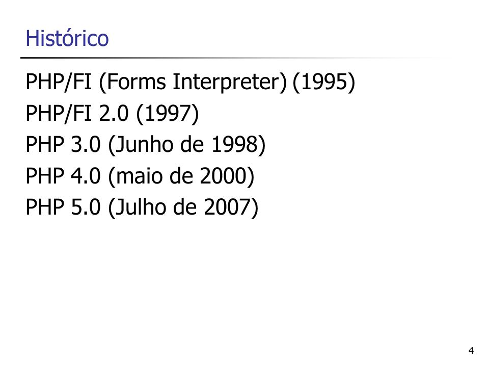 PHP/FI (Forms Interpreter) (1995) PHP/FI 2.0 (1997)