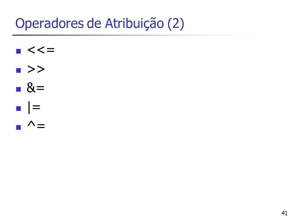 Operadores de Atribuição (2)