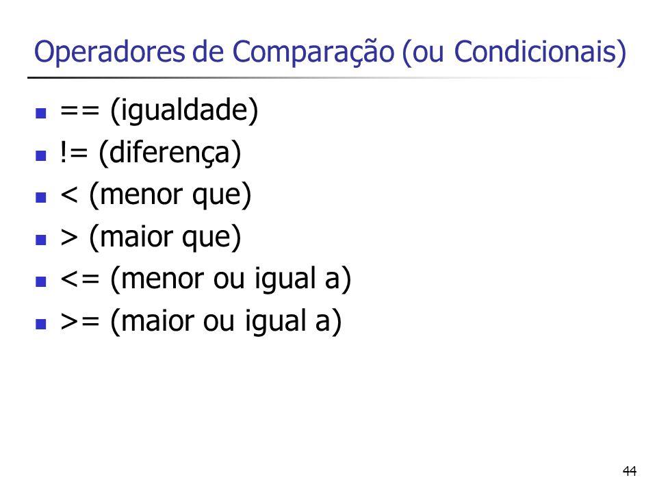 Operadores de Comparação (ou Condicionais)