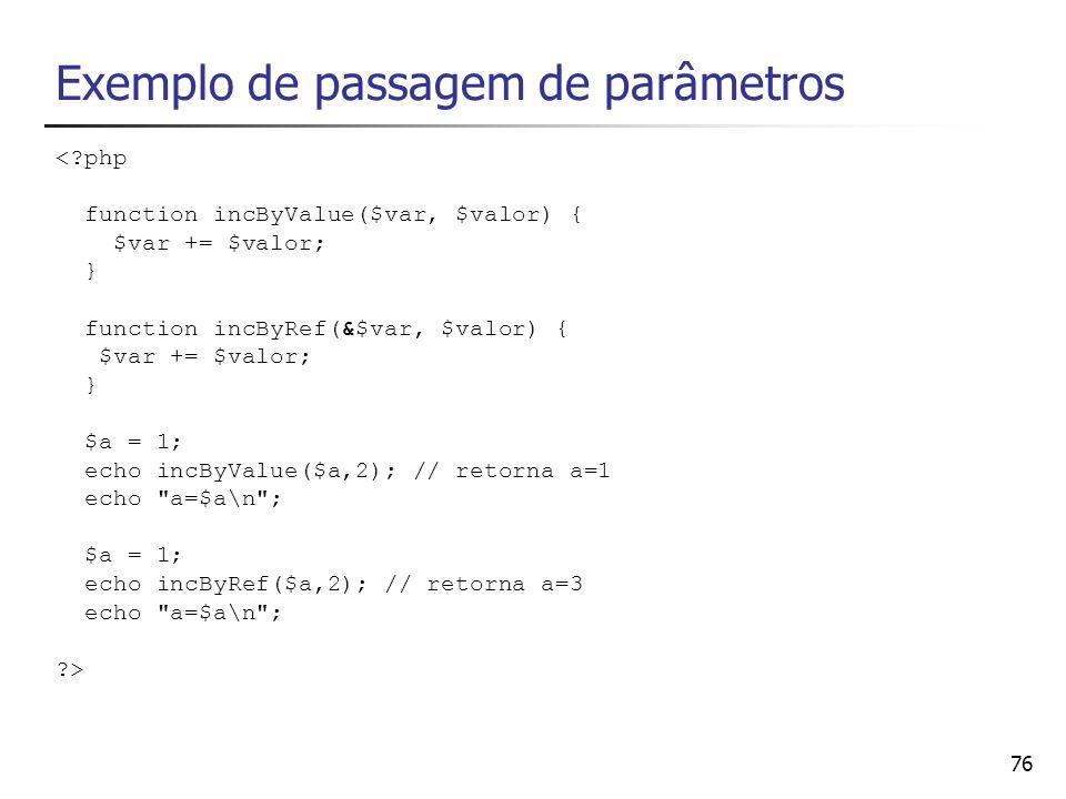 Exemplo de passagem de parâmetros