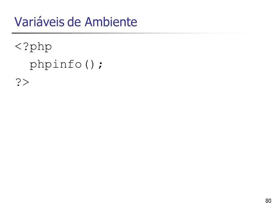 Variáveis de Ambiente < php phpinfo(); >