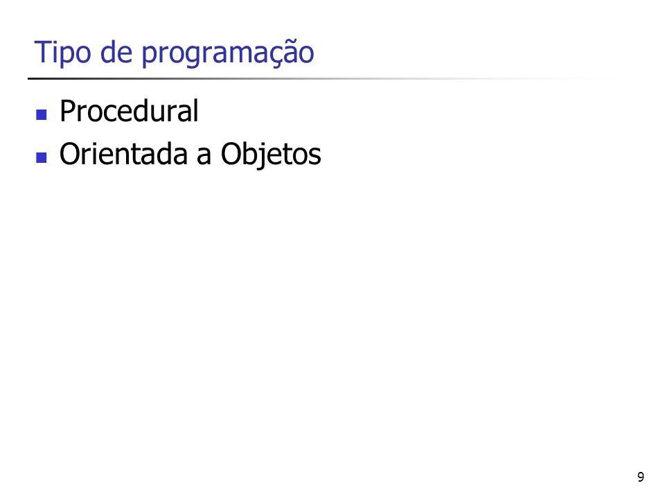 Tipo de programação Procedural Orientada a Objetos