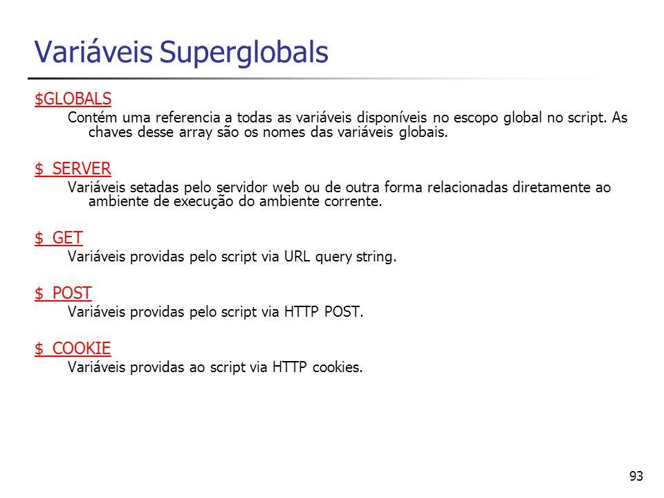 Variáveis Superglobals