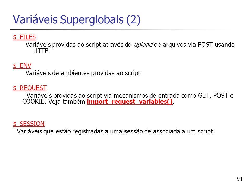 Variáveis Superglobals (2)