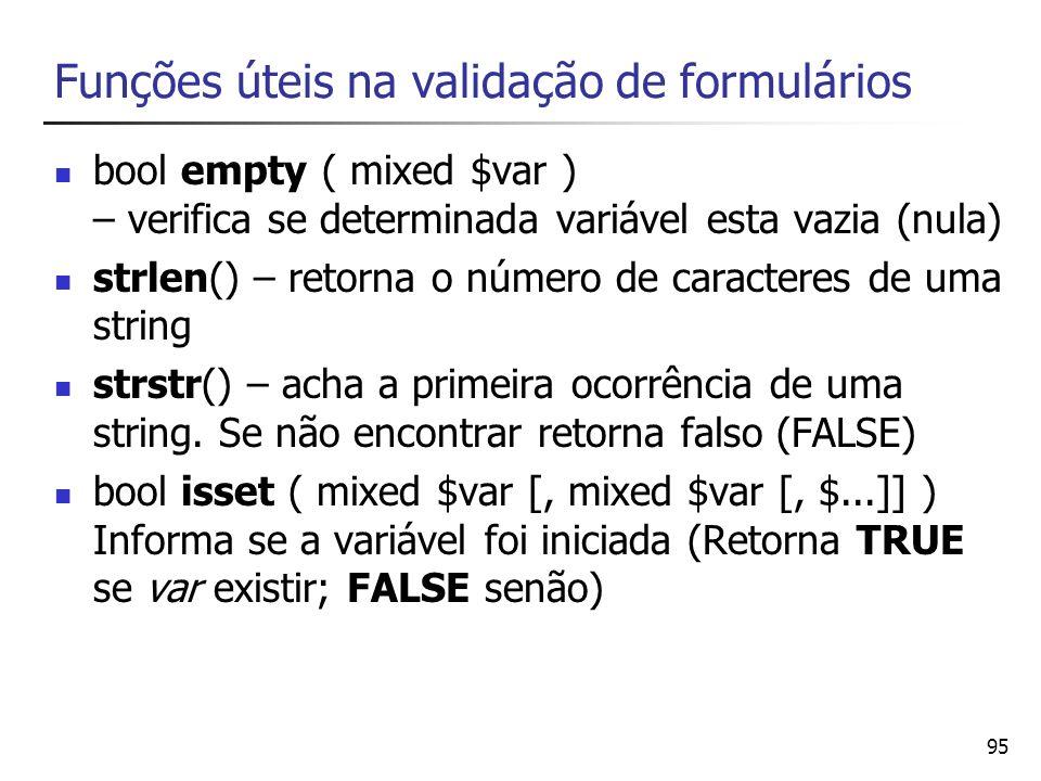 Funções úteis na validação de formulários