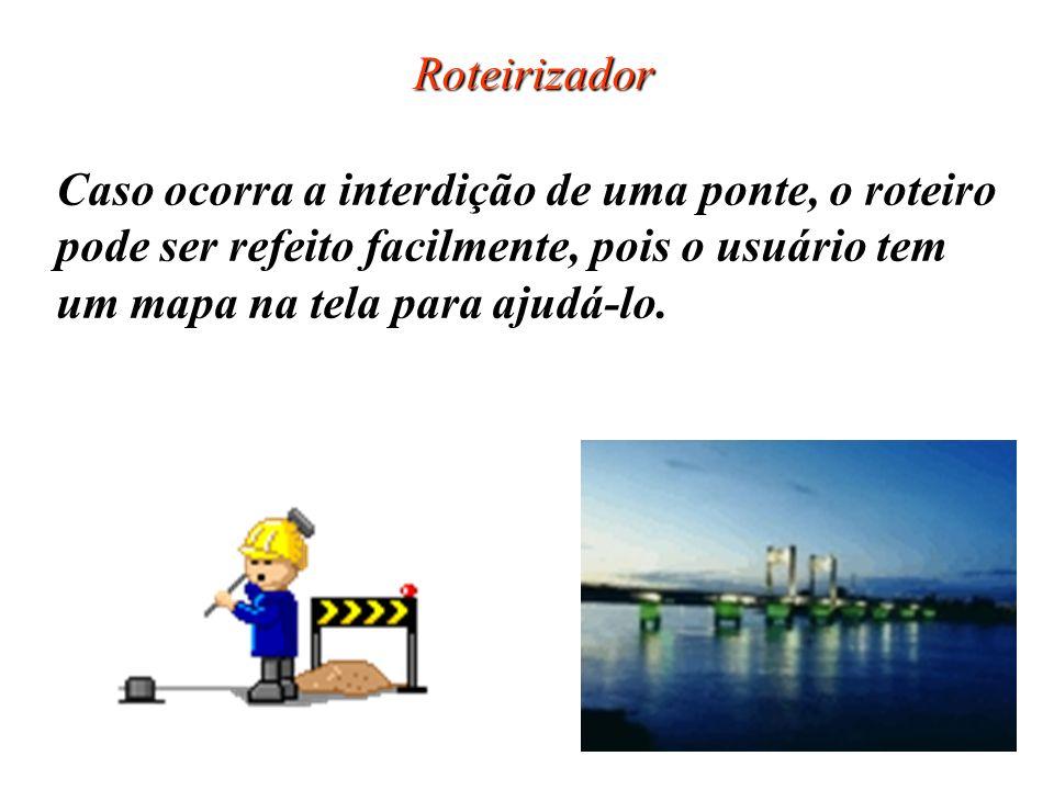 Roteirizador Caso ocorra a interdição de uma ponte, o roteiro. pode ser refeito facilmente, pois o usuário tem.