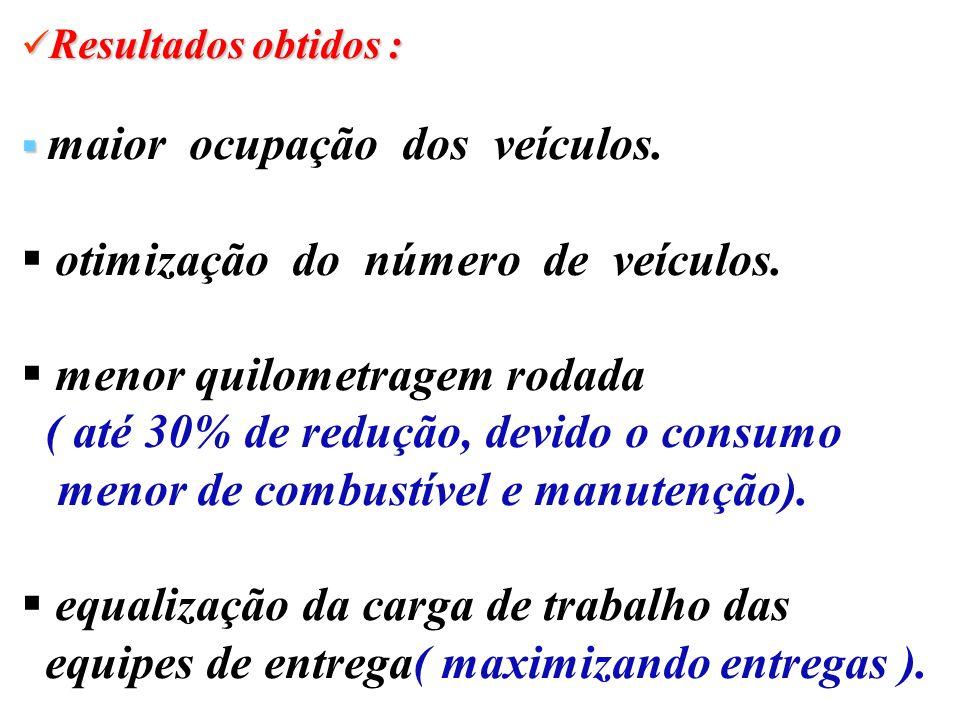 otimização do número de veículos. menor quilometragem rodada