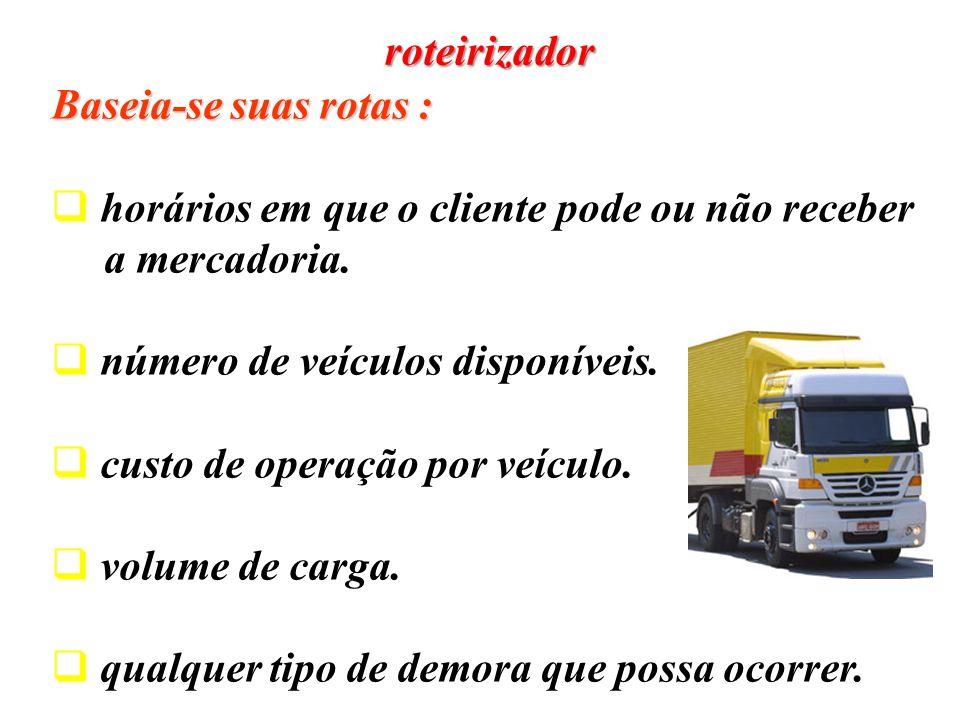 roteirizador Baseia-se suas rotas : horários em que o cliente pode ou não receber. a mercadoria. número de veículos disponíveis.