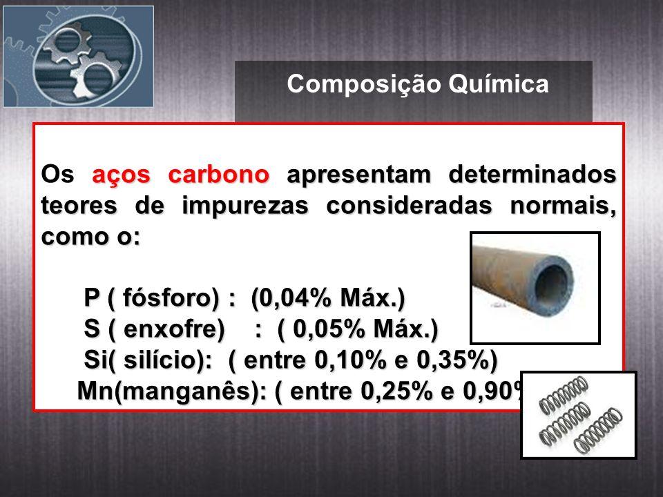Composição Química Os aços carbono apresentam determinados teores de impurezas consideradas normais, como o: