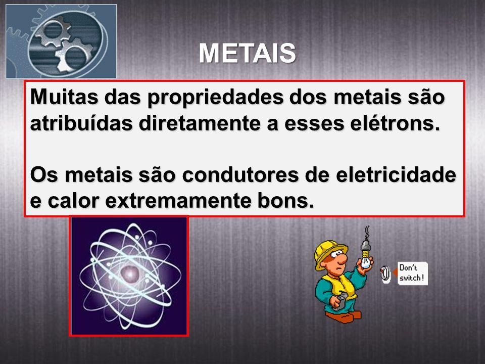 METAIS Muitas das propriedades dos metais são