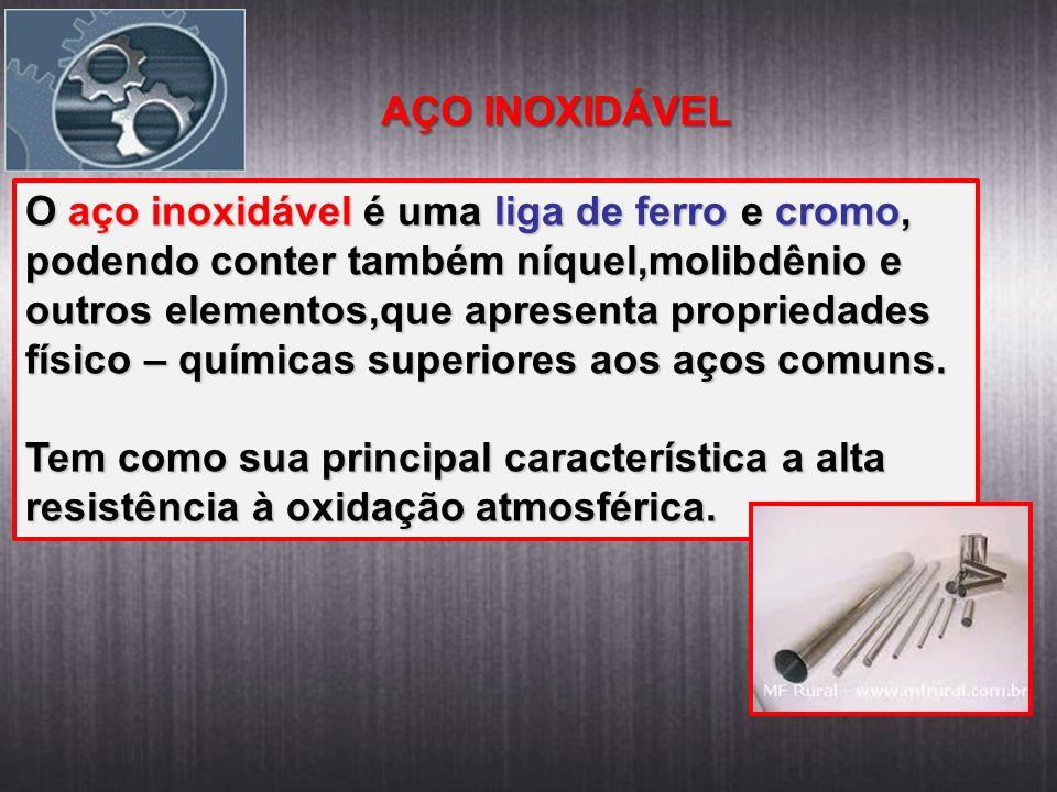 AÇO INOXIDÁVEL O aço inoxidável é uma liga de ferro e cromo, podendo conter também níquel,molibdênio e.