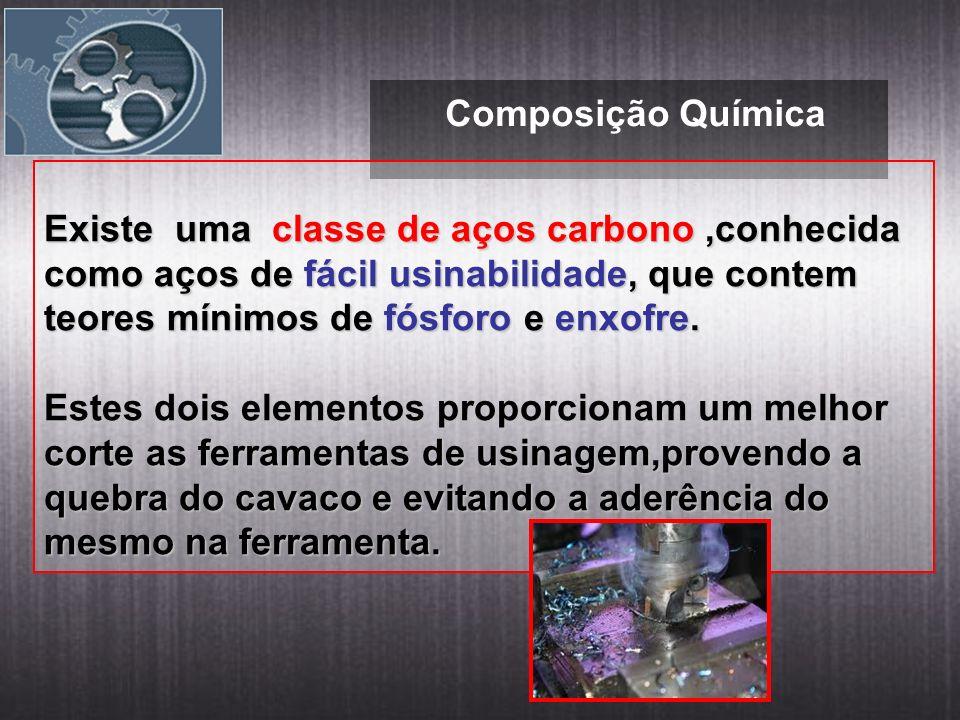 Composição Química Existe uma classe de aços carbono ,conhecida como aços de fácil usinabilidade, que contem teores mínimos de fósforo e enxofre.