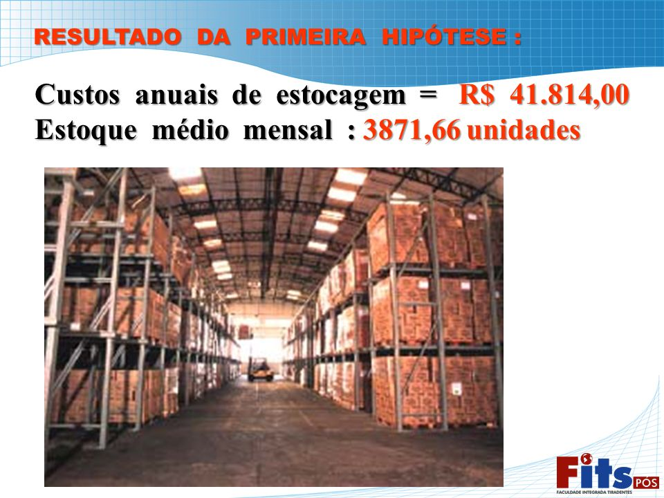 Custos anuais de estocagem = R$ 41.814,00