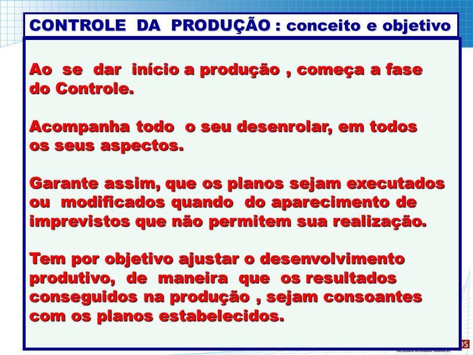 CONTROLE DA PRODUÇÃO : conceito e objetivo
